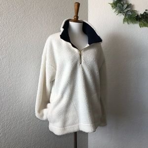Old Navy • Ivory Fuzzy Teddy Pull Over Sweater